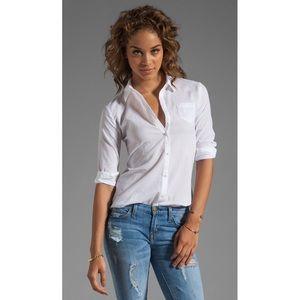Elizabeth and James Textured White Cohen Shirt M